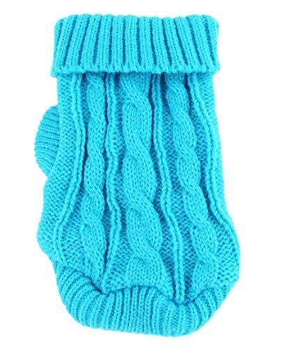 Sunshine D Hundebekleidung, Winter Hunde Pullover Zubehör Katze Kleidung Warmer Hunde Strick Pullover Hündchen Mantel Kleine Hunde Jacke - Blau,XS