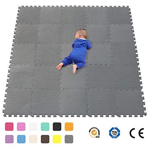 qqpp Alfombra Puzzle para Niños Bebe Infantil - Suelo de Goma EVA Suave. 25 Piezas (30*30*1cm), Gris. QQC-Lb25N