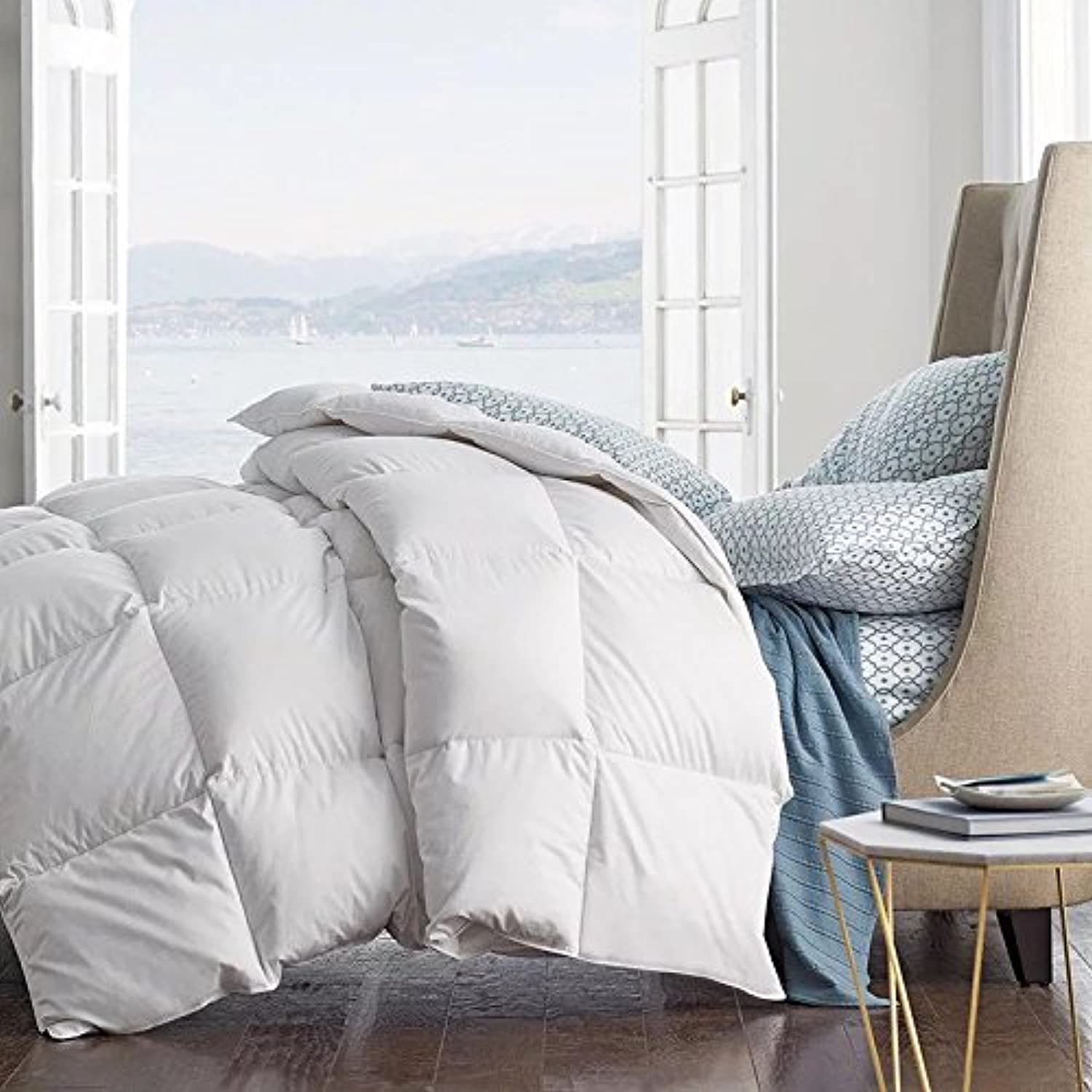 pink FEATHER Summer Spring Down Comforter Light Weight Duvet Insert Solid Fluffy Soft Warm Hypoallergenic Oversize TwinXL Full Queen King Cal King-White (King 106x90inch, White)