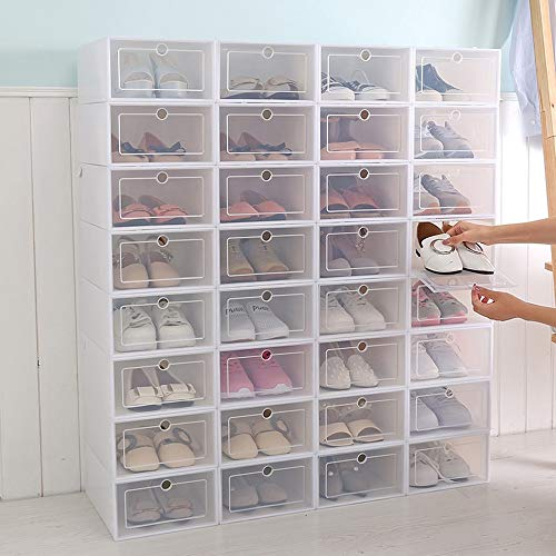 Caja de almacenamiento de zapatos 6pcs tipo cajón caja de zapatos engrosada transparente plegable caja de almacenamiento de zapatos ahorrar espacio impermeable plástico zapatero