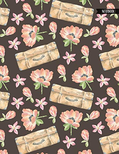 Notebook: Floral Suitcase Luggage Travel Journal for Girls and Women - 8.5x11 Large Lined Diary for Writing Journaling School or Work