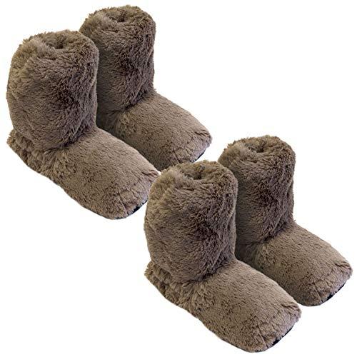Thermo Sox 2 Paar aufheizbare Hausschuhe Gr M 36-40 Schokobraun Körnerpantoffeln für Mikrowelle und Ofen - Mikrowellenhausschuhe Wärmepantoffeln Wärmehausschuhe Supersoft