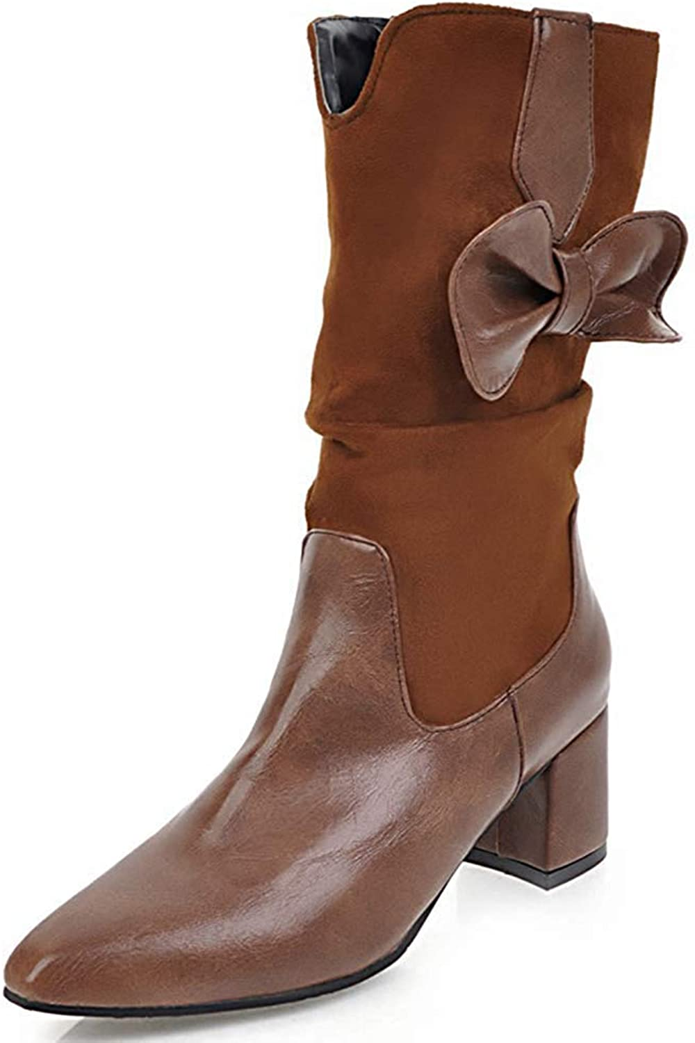 Gedigits Women's Dressy Bow Pointed Toe Medium Block Heel Slouchy Pull On Mid Calf Boots Brown 4.5 M US