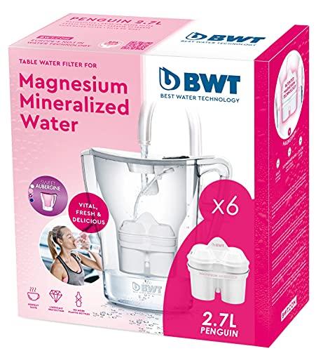 BWT Penguin Electronics - Magnesium-Wasserfilterkrug + Packung mit 6 Filtern, 2,7 L, Weiß