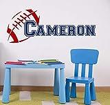 Pegatinas de pared con nombre personalizado de fútbol americano para habitaciones de niños, calcomanía de pared para dormitorio con nombre para niños, Mural de arte deportivo de fútbol DIY 102X39CM