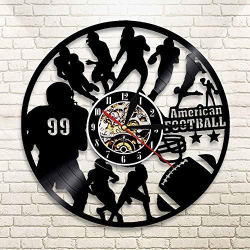 3D Vinyl Wanduhr American Football Nachtlicht Uhr Fußball Spieler Wand Art Deco Spiel Sport Spieler Junge