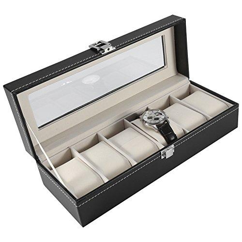 Asixx Caixa de armazenamento para relógio, caixa de couro sintético de alta qualidade com 6 compartimentos com design moderno, aparência elegante para exibição de joias de relógio, organizador de armazenamento quente