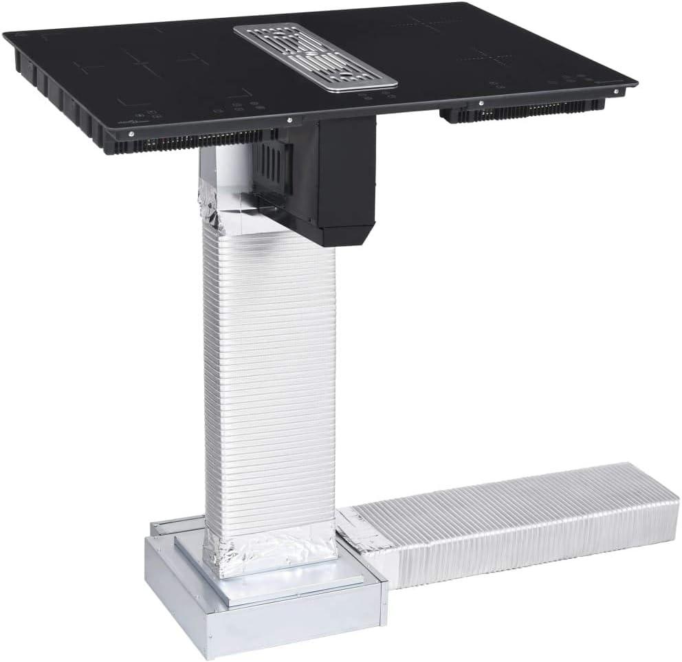 vidaXL Placa de Inducción Flexizone con Mesa de Tiro Descendente Vitrocerámica Cocción Flexible Domino Cocina Eléctrica Función de Reducción 78 cm