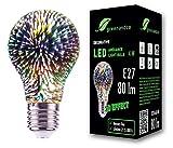 Bombilla LED greenandco con efecto de fuegos artificiales en 3D para la iluminación decorativa de ambientes E27 A60 4W 80lm 360° 230V sin parpadeo, no regulable