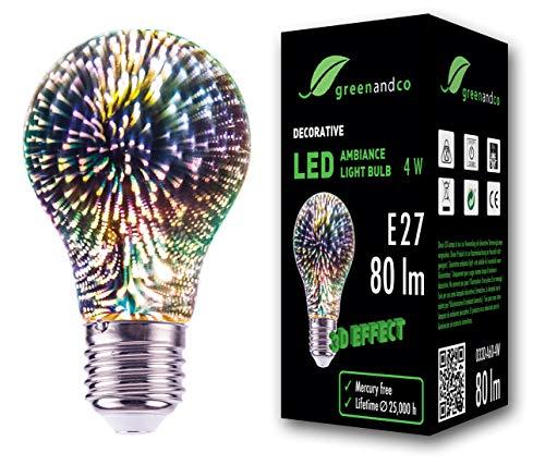 greenandco® Designer LED Lampe mit 3D Feuerwerks-Effekt zur dekorativen Stimmungsbeleuchtung E27 A60 Edison Glühbirne 4W 80lm 230V flimmerfrei nicht dimmbar 2 Jahre Garantie
