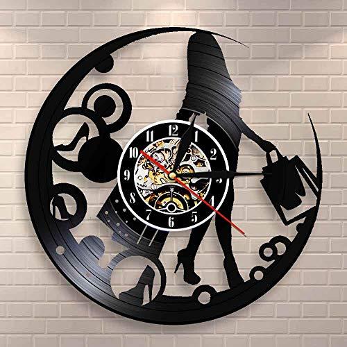 Tbqevc Compras Mujer Disco de Vinilo Reloj de Pared para Mujer Esteticista niña decoración del hogar diseño Reloj Moda Mujer Reloj de Pared 12 Pulgadas