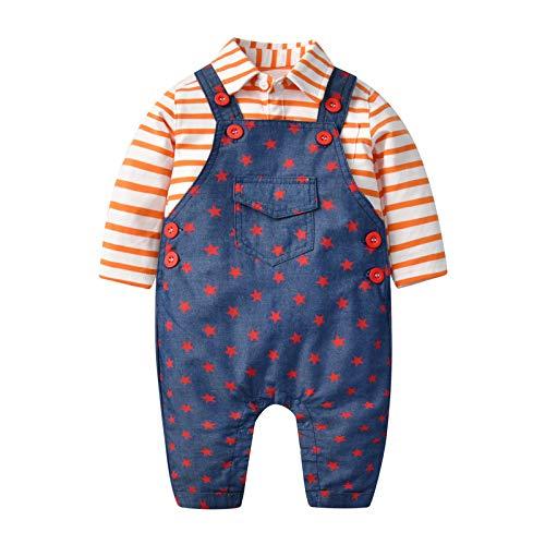 Bambino T-Shirt Pantalone Outfits Maglietta Manica Lunga Salopette di Jeans Cotone Camicia Abiti Gentleman Suit Regalo Neonato 2-3 anni