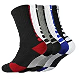 5 Pairs Men's Basketball Athletic Crew Sock Cushioned Breathable Thickening Towel Outdoor Sport Accessories Socks