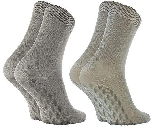 Rainbow Socks - Damen Herren Bunte Bambus Stoppersocken - 2 Paar - Beige Grün - Größen: EU 39-41