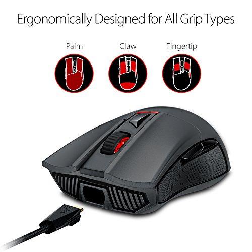 ASUS Rog Gladius II USB Óptico 12000DPI Ambidextro Negro - Ratón (USB, Juego, Pressed buttons, Rueda, Óptico, PC/ordenador portátil)