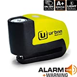 Urban Security UR6 Candado Antirrobo Disco con Alarma+Warning 120dBA, 6 mm, Made In EU, Amarillo Flúor, Única