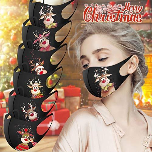 GJKK 5 Stück Mundschutz Weihnachten Waschbar Bunt mit Motiv Atmungsaktiv Staubdichte Bandana Halstuch Lustig Mund und Nasenschutz Stoff für Damen Herren - 2