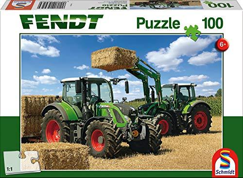 Schmidt Spiele 56256 Traktor Fendt Vario 724 und 716 mit Frontlader, 100 Teile Kinderpuzzle, Weiss