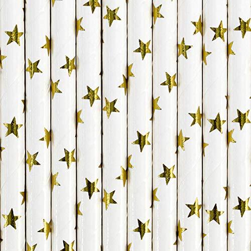 partydeco Lot de 10 pailles en Papier Motif étoiles dorées