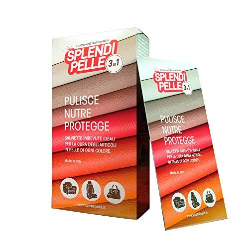 SPLENDIPELLE  3 in 1 salvietta umidificata per Articoli in Pelle, Cuoio ed Ecopelle, pulisce, nutre e Protegge, Confezione da 10 salviette sigillate singolarmente