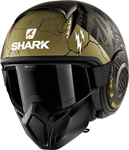 Shark Casco de moto STREET DRAK CROWER Mat GKG, Negro/Verde, M