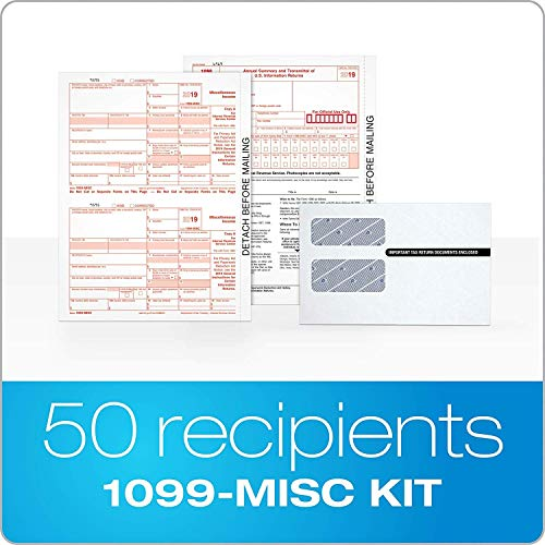 1099 misc Forms 2019, 4 Part Laser Tax Forms, 50 Vendors Kit with Self-Seal Envelopes – Pack of Federal/State Copy