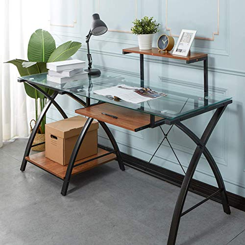 Computer Table, Glass Table, Computer Workstation, Large PC Game Table, Study Table, with Keyboard Tray, Steel Frame Feet, Multi-purpose and Practical