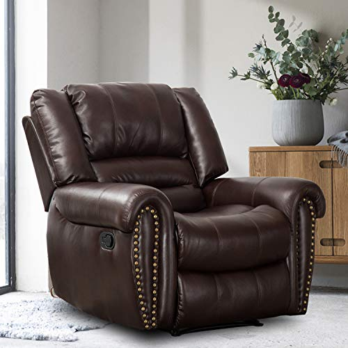 Bonzy Home Leather Recliner Chair for Living Room, Manual Recliner Chair for Elderly, Oversize Reclining Chair(Brown)