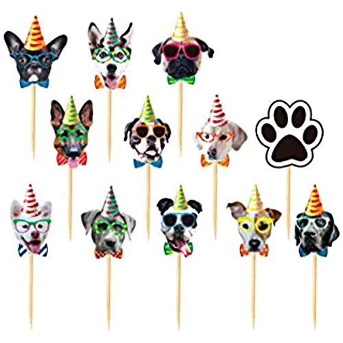 TAJIAA 48PCS Dogs Face Cupcake Toppers - Dogs Cupcake Toppers - Puppy Pet Theme Birthday Party Decorations Supplies