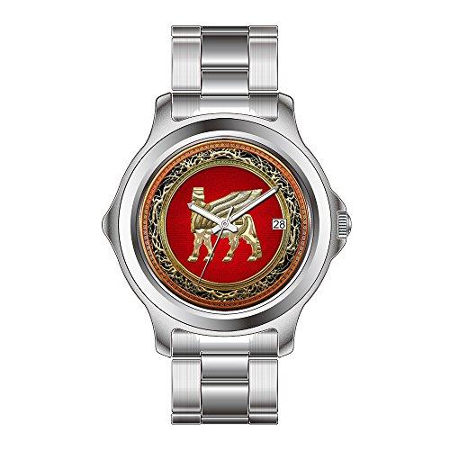 FDC–Navidad Regalo Relojes Mujer Fashion Fecha Acero Inoxidable Reloj de Pulsera de Cuarzo japonés Babylonian Toro Alado lamassu [3D] Reloj