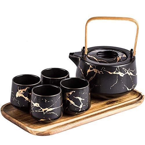 Keramische thee, koffie set, Marble Tea Service Set Keramiek, 4-delige Koppen van de Thee met Houten Dienblad, Modern Theepot, Tea Cups set for thuis en op kantoor