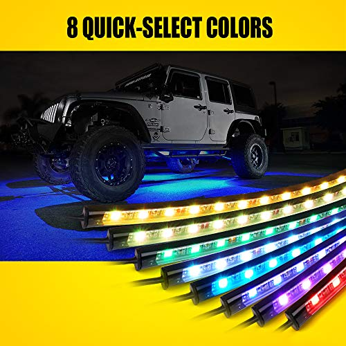 Lumenix Car Underglow Neon Led Light Kit with Remote Control, High Intensity 5050 SMD Multi-Color Underbody RGB Strip Light System with Sound Active for Car, Truck Offroad Jeep Vehicle - 4Pcs