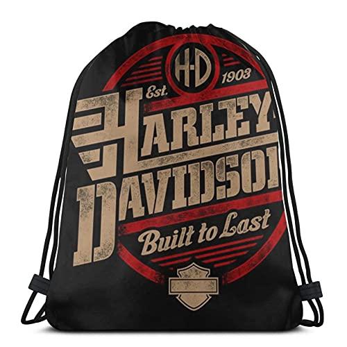 Harley Davidson - Borsa da palestra con coulisse, grande zaino sportivo con cordino, borsa in PE per donne e uomini, borsa da viaggio per scuola con impermeabile