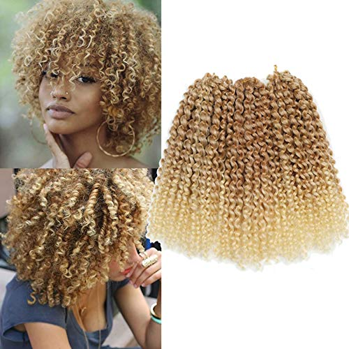 Sharopul Kinky Curl Short Hairstyle 8 Inch 3pcs/pack Afro Kinky Twist Hair Soft Synthetic Crochet Braiding Hair Extention (blonde)