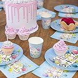UMOI Einweg Geburstag Partygeschirr Set - 30 Hochwertige Pappteller, 30 Pappbecher und 60 Servietten für den Kindergeburstag 120tlg. (Geburtstag Ballon) - 4