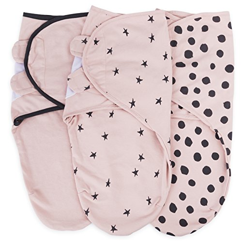 Adjustable Swaddle Blanket Infant Baby Wrap Set 3 Pack, for Baby Girl by Ely's & Co. (Blush Pink, 0-3 Months)