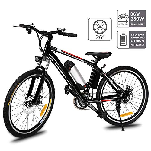 Aceshin 26'' Electric Mountain Bike with Removable Large Capacity Lithium-Ion Battery (36V 250W), Electric Bike 21 Speed Gear and Three Working Modes (Black, 26 inch)