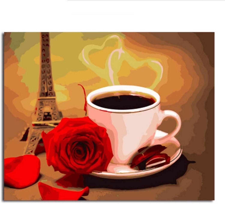 Waofe Gerahmte Leinwand Malen Nach Zahlen Diy Bild Ölgemälde Auf Leinwand Für Wohnkultur Kaffee Und Rosa B07Q2XY4J9 | Die Königin Der Qualität