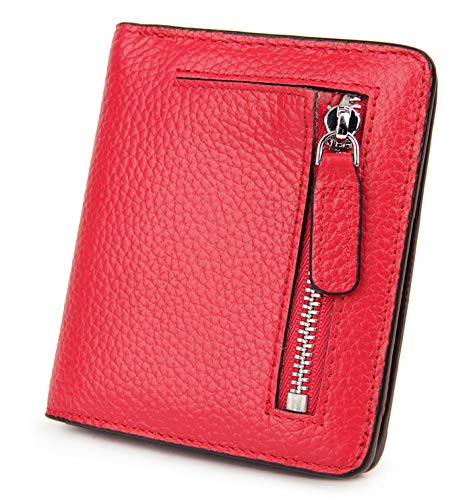 AINIMOER Small Leather Wallet for Women, Ladies Credit Card Holder RFID Blocking Women's Mini Bifold Pocket Purse, Red