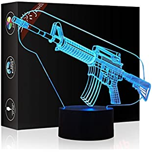 Gun 3D Illusion Lamp Mother's Day Gift Night Light Beside Table Lamp, Jawell 7 Colors Auto Changing Touch Switch Desk Decoration Lamps Birthday Christmas Gift with Acrylic Flat & ABS Base & USB Cable