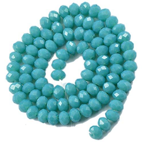 MagiDeal Perle Sciolti 6mm Cristallo Sfaccettato Fai da Te Rondelle 16.5 Trefolo per Creare Gioielli Braccialo Collana - Turchese