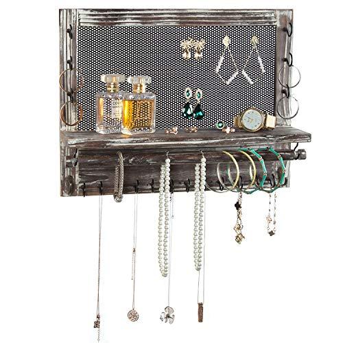 MyGift Rustic Wood Metal Mesh Wall Mounted Jewelry Hanger Necklaces Bracelets Earrings Organizer Rack