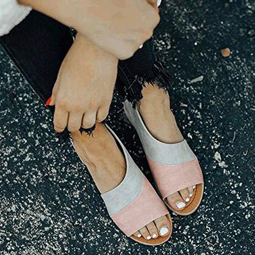 Drxiu Sandalias Planas de Verano para Mujer, Zapatillas con Punta Abierta, Zapatos de Moda, Calzado Informal Femenino,A,39