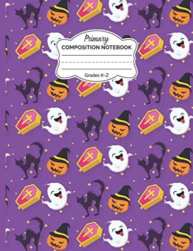 Halloween Primary Composition Notebook: Dotted Midline and Picture Space | Scary Black Cat, Funny Boo & Gravestone Primary Journal Grades K-2 Composition School Exercise Book Gifts for Kids