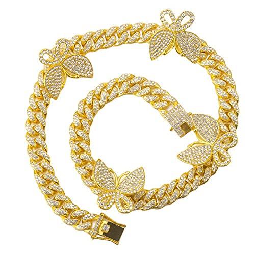 CHXISHOP Collar de Cadena Cubana de Mariposa, aleación de Hip Hop Rhinestones completos 18k Hombres y Mujeres Chapado en Oro y Mujer Collar de zircón Brillante Colgante Gold-16inch
