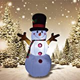 GOOSH 5FT Inflatable Snowman Christmas Outdoor Decoration ,Blow Up Christmas Yard Decoration with Branch Hand
