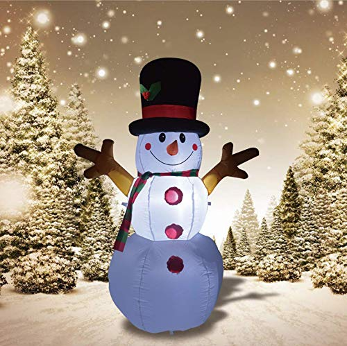 GOOSH 5 Feet Inflatable Snowman Christmas Outdoor Decoration,Blow Up Snowman Christmas Yard Decoration with Branch Hand