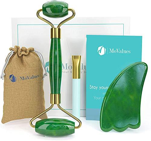 masajeador facial de rodillo de jade natural