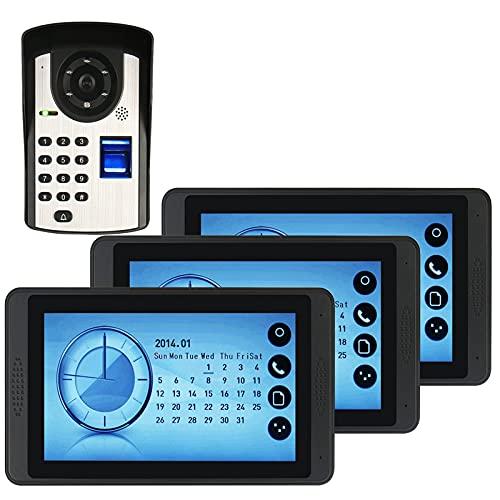 Timbre de video con contraseña de huellas dactilares, intercomunicador, kits de videoportero con cable, monitor de pantalla táctil de 7 pulgadas + cámara de visión nocturna,3 display