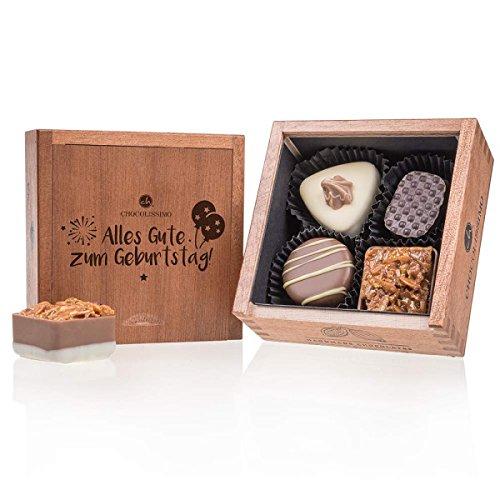 Elegance Mini - Geburtstag - 4 Luxus Pralinen | Premium Qualität in edler Holz-Box | Holzkästchen | Alles Gute zum Geburtstag | Geschenk aus Schokolade | Geschenkidee | Frauen | Männer | keine Konservierungsstoffe | aus erlesenen Zutaten
